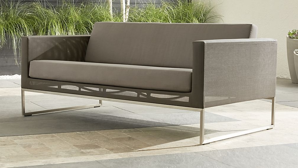 Dune Taupe Sofa With Sunbrella Cushions Reviews Crate And Barrel