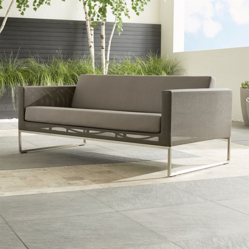 Dune Taupe Sofa With Sunbrella Cushions Reviews Crate