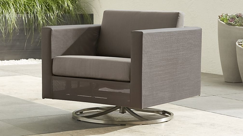 Dune Taupe Swivel Lounge Chair with Sunbrella ® Cushions - Image 1 of 7
