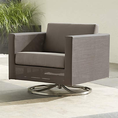 Dune Taupe Outdoor Swivel Lounge Chair Reviews Crate And Barrel
