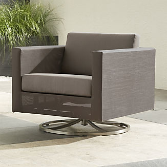 Dune Taupe Swivel Lounge Chair with Sunbrella ® Cushions