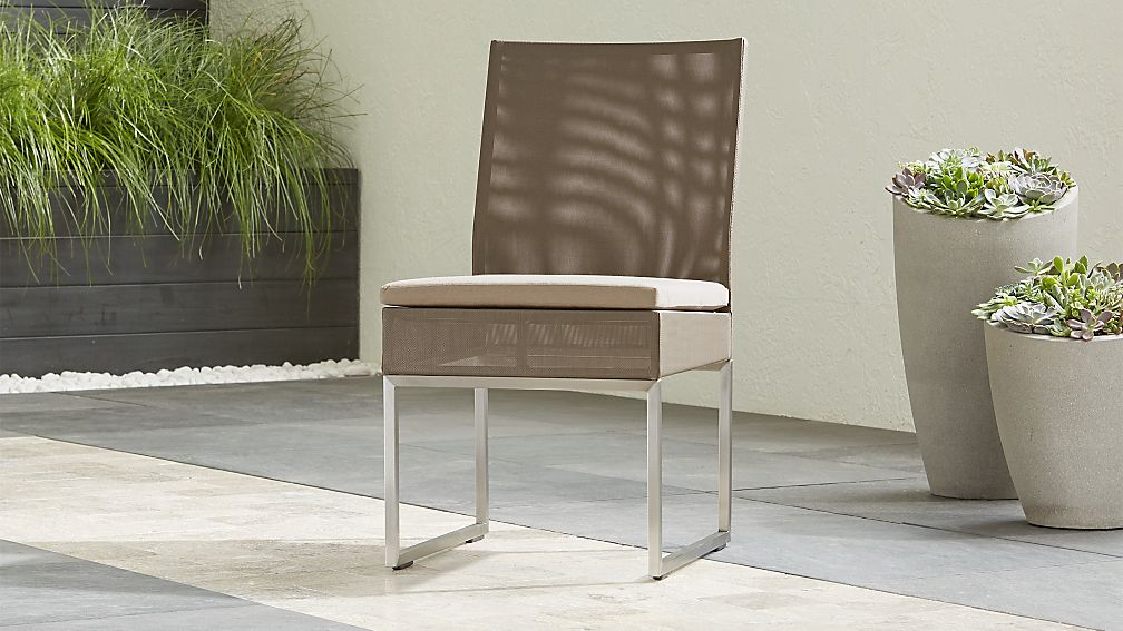 Dune Taupe Dining Side Chair with Sunbrella ® Cushion - Image 1 of 6