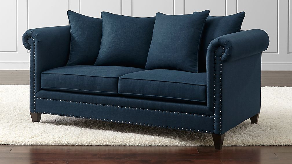 Durham Navy Blue Sofa with Nailheads | Crate and Barrel