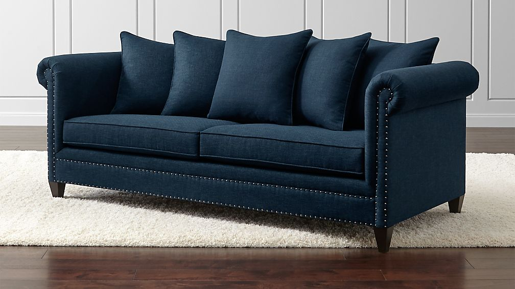 Durham Navy Couch With Nailheads Reviews Crate And Barrel