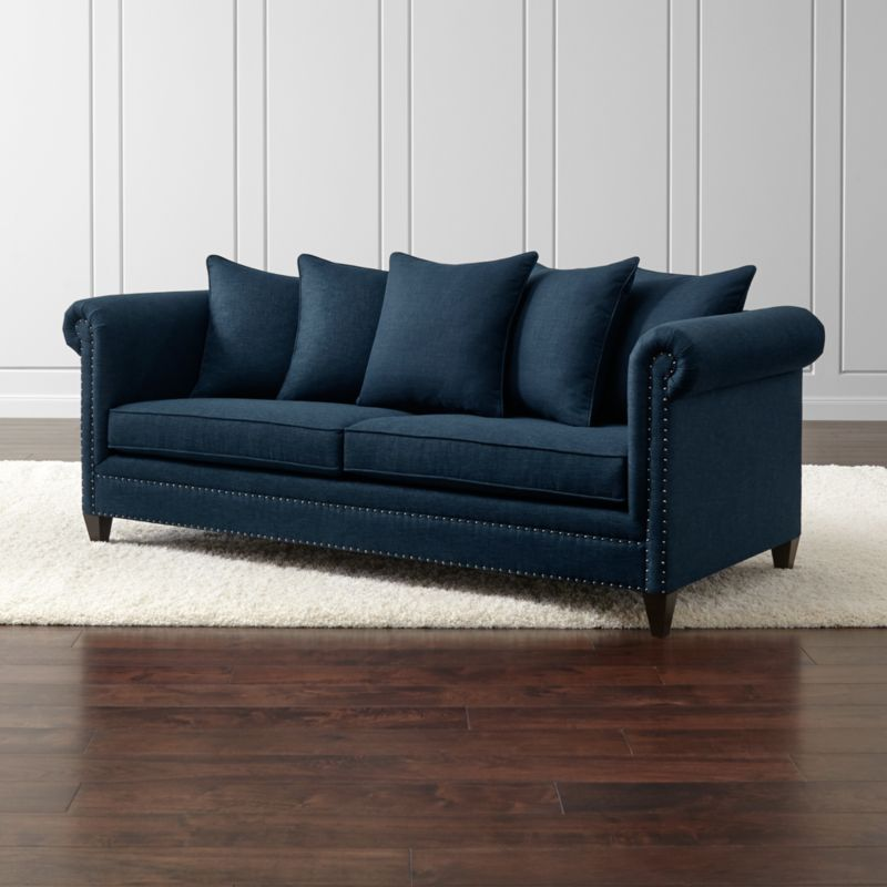 durham navy blue couch with nailheads crate and barrel. Black Bedroom Furniture Sets. Home Design Ideas