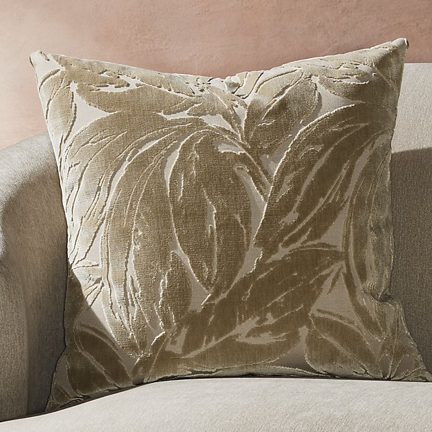 "Dvora Champagne Leaf Pillow 23"" - Image 1 of 5"