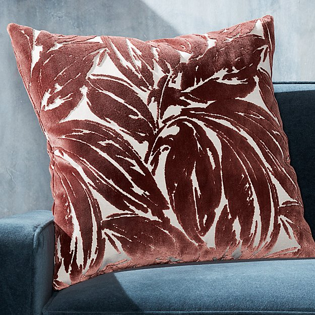 "Dvora Rouge Leaf Pillow 23"" - Image 1 of 5"
