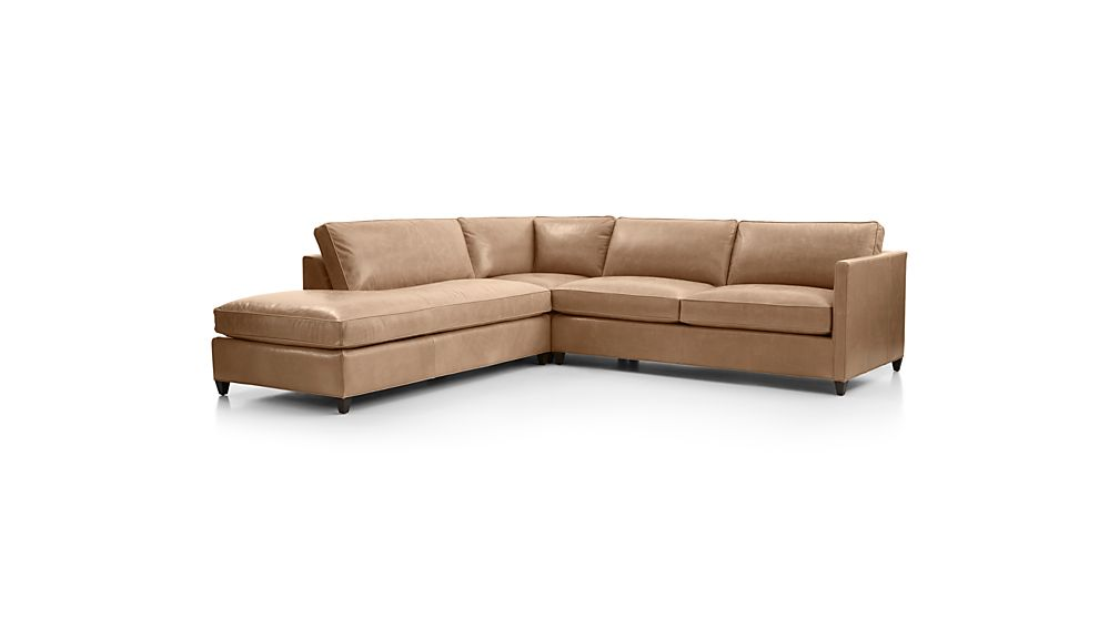 Dryden Leather 3-Piece Left Bumper Sectional