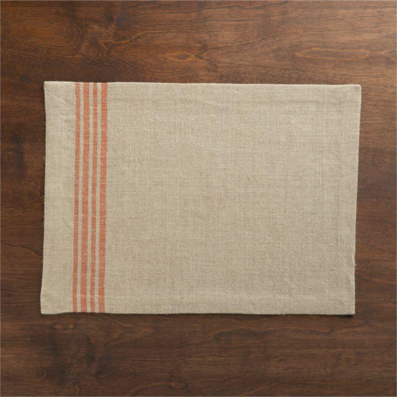 Off-center quartet of casual orange stripes sets off the textural appeal of 100% natural linen.<br /><br /><NEWTAG/><ul><li>100% linen</li><li>Machine wash cold, dry flat; warm iron as needed</li></ul>