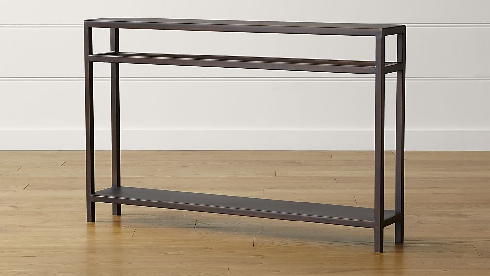 Echelon narrow console table reviews crate and barrel for Skinny console table