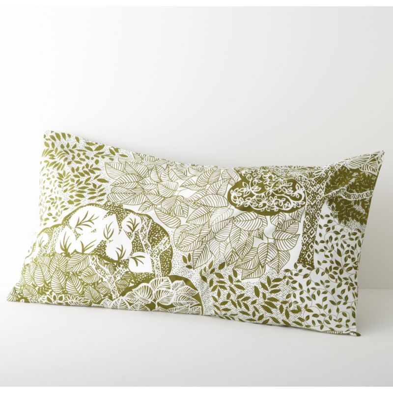 Relax into a fantasyland of lush trees, limbs and leaves, printed in soothing forest green on creamy cotton. Shams with echoing tree motifs have overlapping center back closures. Bed pillows available.<br /><br /><NEWTAG/><ul><li>100% cotton</li><li>180-thread-count</li><li>Machine wash, tumble dry low, warm iron as needed</li><li>Made in India</li></ul>
