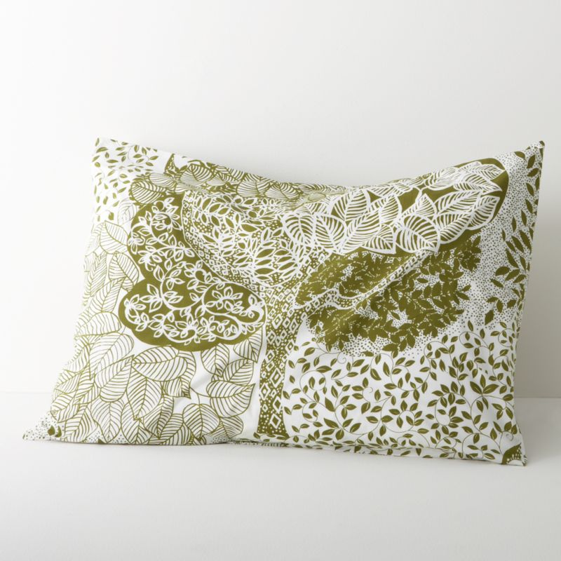 Relax into a fantasyland of lush trees, limbs and leaves, printed in soothing forest green on creamy cotton. Shams with echoing tree motifs have overlapping center back closures. Bed pillows available.<br /><br /><NEWTAG/><ul><li>100% cotton</li><li>180-thread-count</li><li>Machine wash, tumble dry low, warm iron as needed</li></ul>