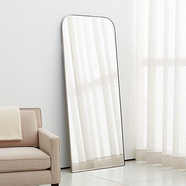 Edge Brushed Nickel Arch Floor Mirror - Image 1 of 4