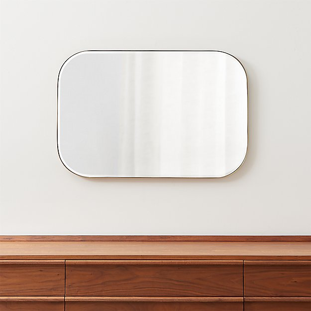 Edge Brass Rounded Rectangle Mirror - Image 1 of 7