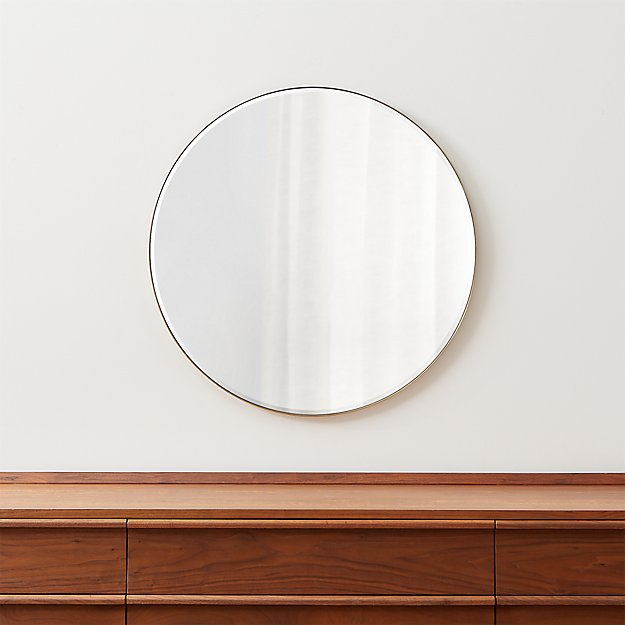 "Edge Brass Round 30"" Wall Mirror - Image 1 of 6"