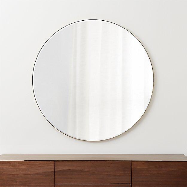"Edge Brass Round 48"" Wall Mirror - Image 1 of 5"