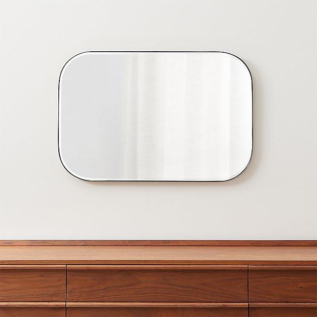 Edge Brushed Nickel Rounded Rectangle Mirror - Image 1 of 7