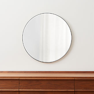 "Edge Brushed Nickel Round 30"" Wall Mirror"