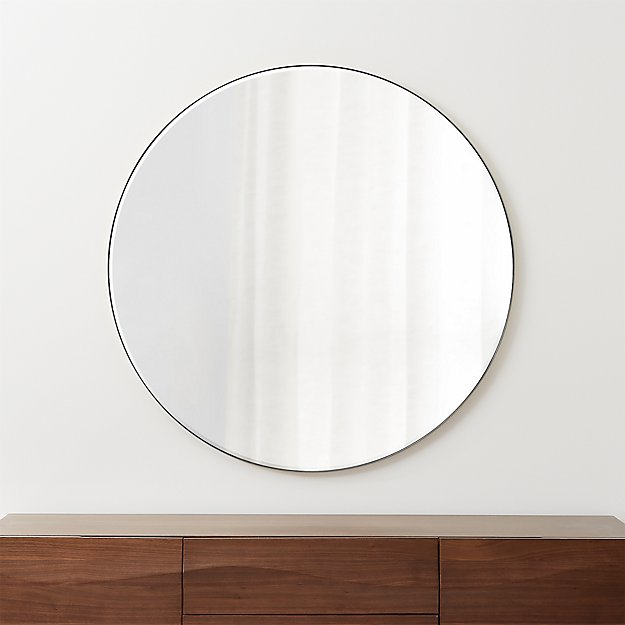"Edge Brushed Nickel Round 48"" Wall Mirror - Image 1 of 5"
