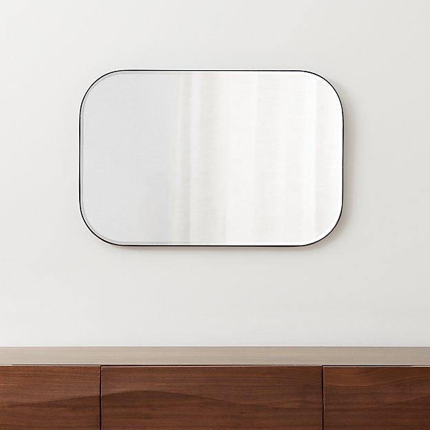 Edge Gunmetal Rounded Rectangle Mirror - Image 1 of 10
