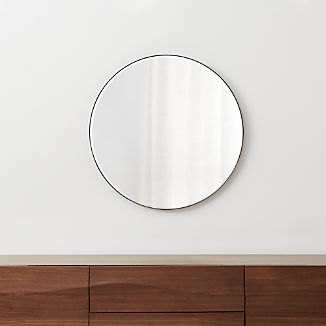 "Edge Gunmetal Round 30"" Wall Mirror"