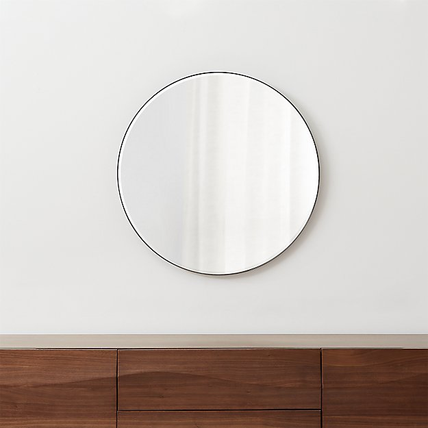 "Edge Gunmetal Round 30"" Wall Mirror - Image 1 of 7"