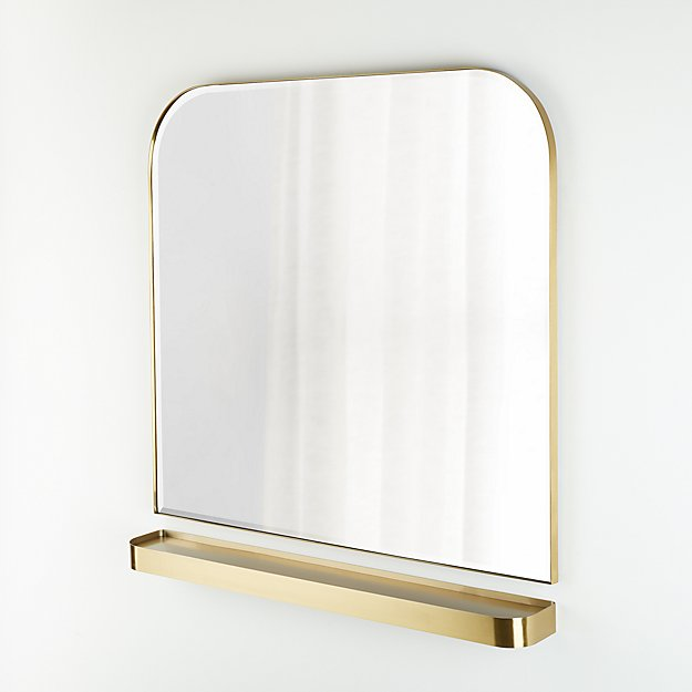 Edge Brass Arch Wall Mirror and Shelf Set - Image 1 of 1
