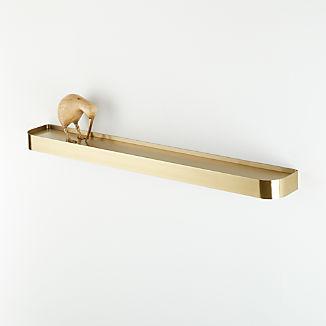 "Edge 36"" Brass Metal Floating Shelf"