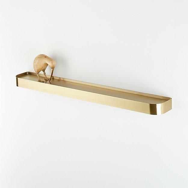 "Edge 36"" Brass Metal Floating Shelf - Image 1 of 5"