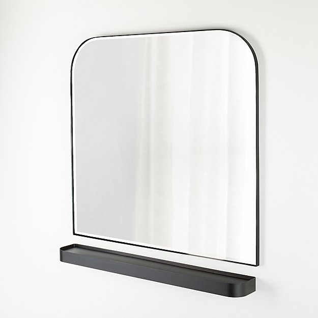 Edge Gunmetal Arch Wall Mirror and Shelf Set - Image 1 of 1