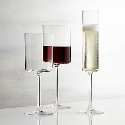 Edge Square Wine Glasses | Crate and Barrel