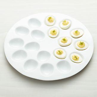 White Ceramic Deviled Egg Serving Platter