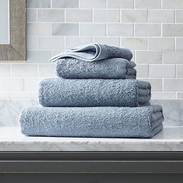 Egyptian Cotton Dusty Blue Bath Towels - Image 1 of 3