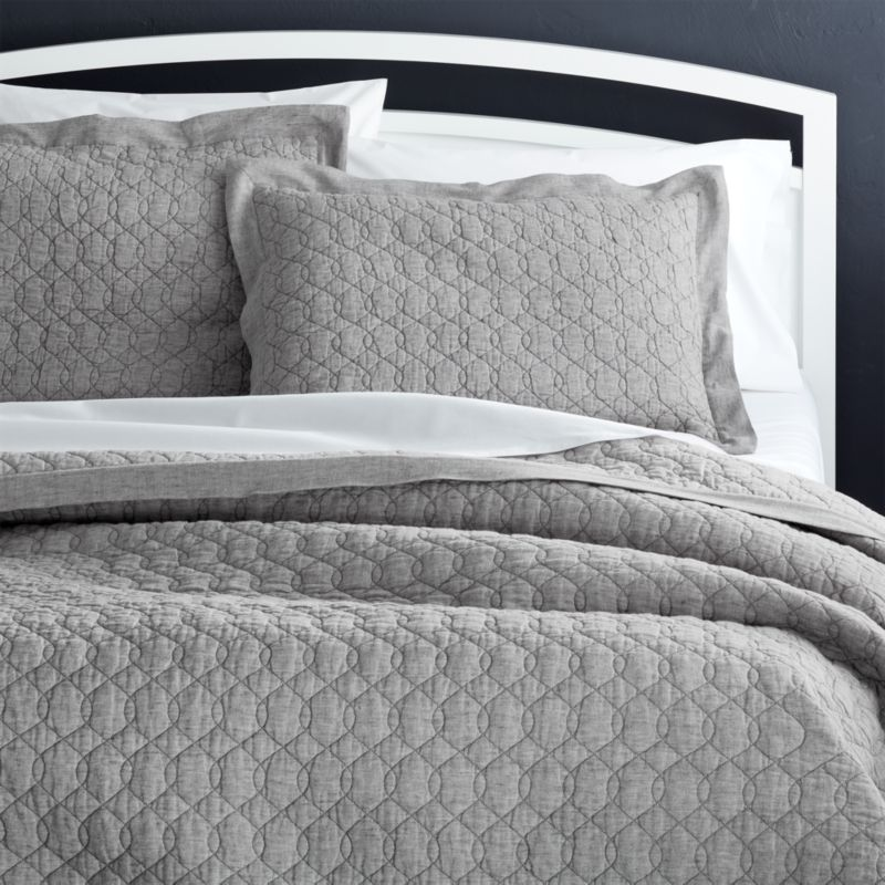 Elize Grey Quilts and Pillow Shams Crate and Barrel