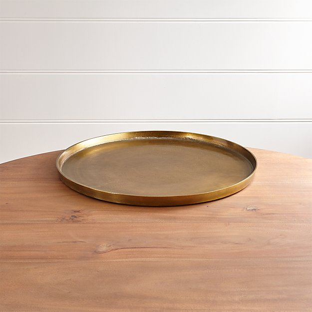 Element Metal Antiqued Brass Tray - Image 1 of 13