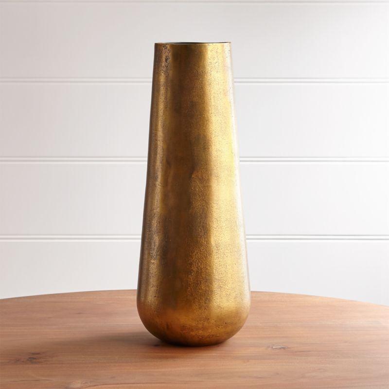 element metal antiqued brass vase reviews crate and barrel. Black Bedroom Furniture Sets. Home Design Ideas