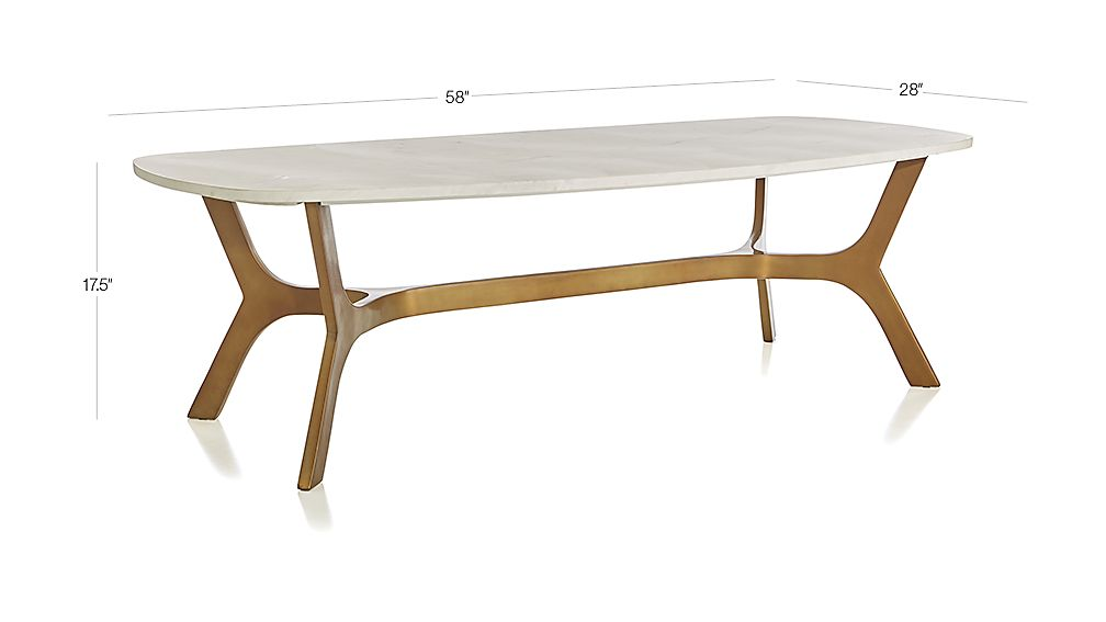 Elke Rectangular Marble Coffee Table With Brass Base