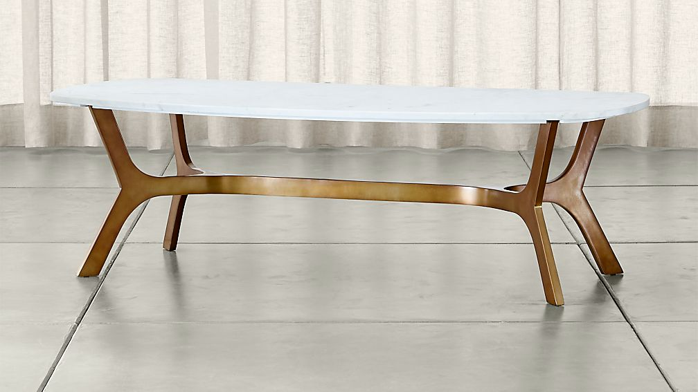 Elke Rectangular Marble Coffee Table with Brass Base - Image 1 of 6