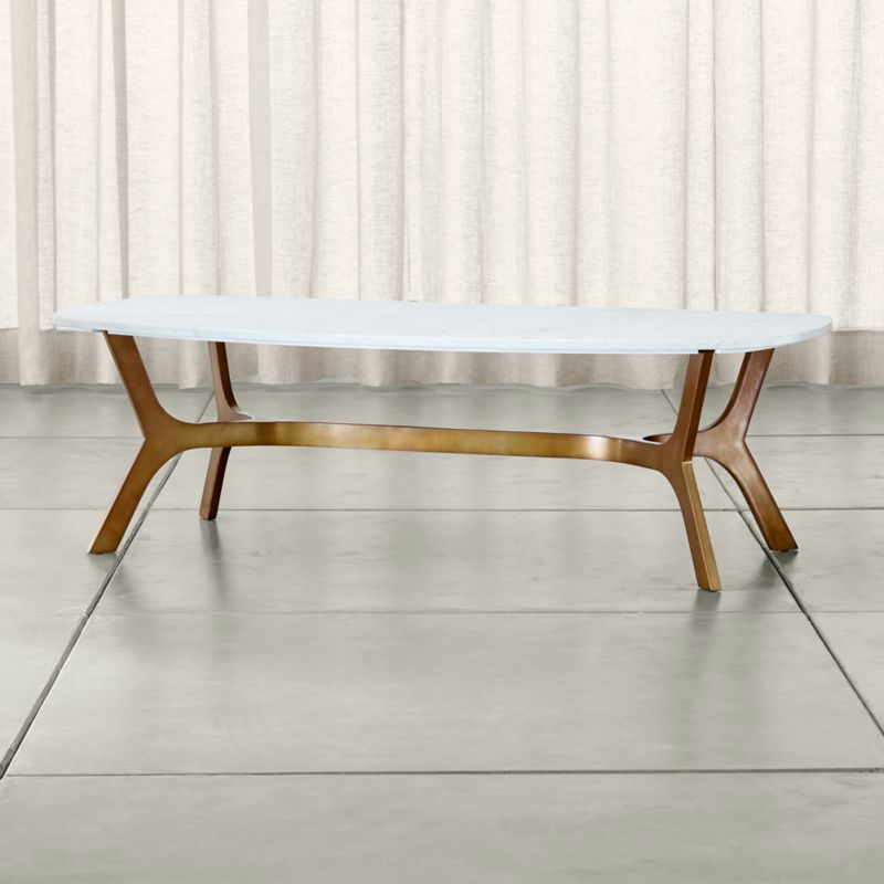 Elke Rectangular Marble Coffee Table With Br Base