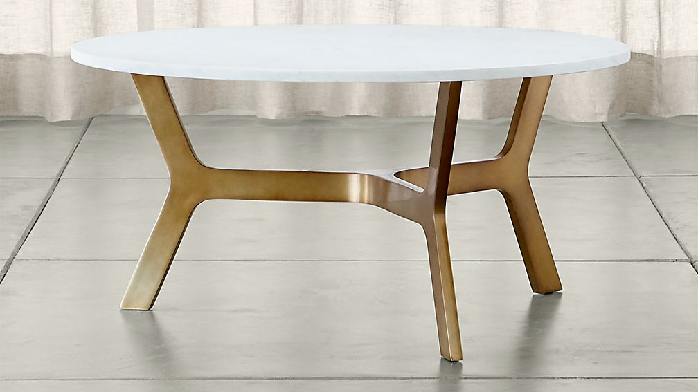 Elke Round Marble Coffee Table with Brass Base - Image 1 of 6