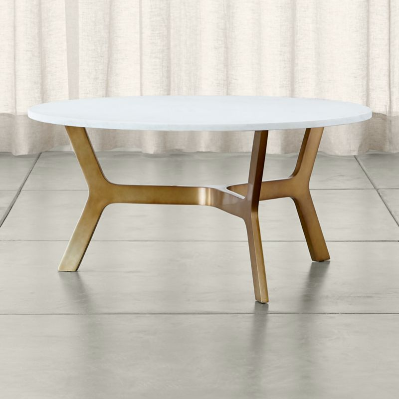 Elke Round Marble Coffee Table With Brass Base + Reviews | Crate And Barrel