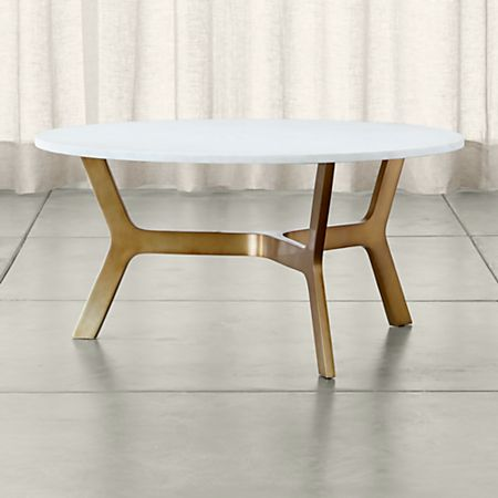 Elke Round Marble Coffee Table With Br Base