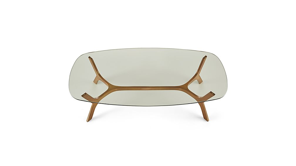 Elke Rectangular Glass Coffee Table with Brass Base