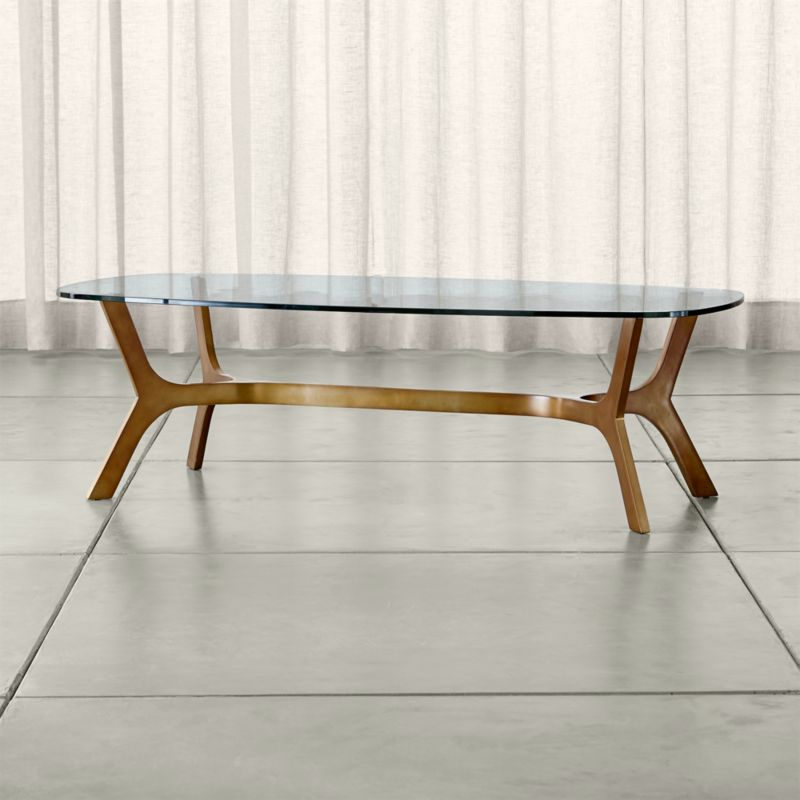 Elke Rectangular Glass Coffee Table with Brass Base in Coffee Tables