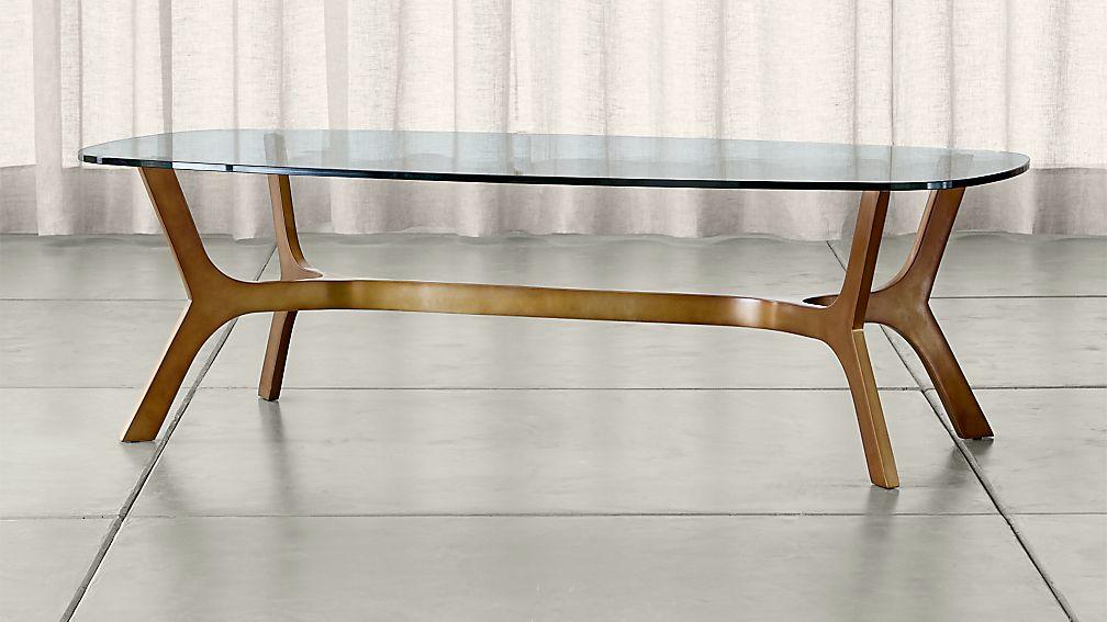 rectangle glass coffee table Elke Rectangular Glass Coffee Table with Brass Base + Reviews  rectangle glass coffee table