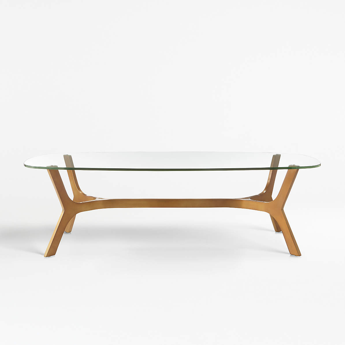 Elke Rectangular Glass Coffee Table With Brass Base Reviews Crate And Barrel