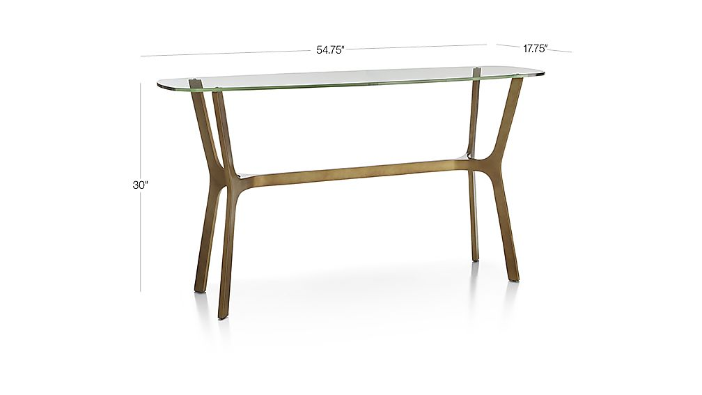 TAP TO ZOOM Image With Dimension For Elke Glass Console Table With Brass  Base