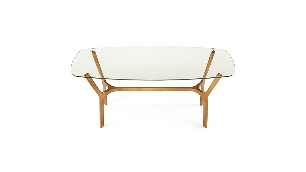 Elke Glass Console Table with Brass Base