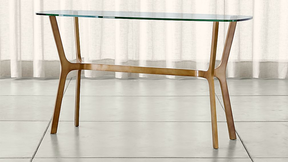 Elke Glass Console Table With Brass Base Reviews Crate And Barrel
