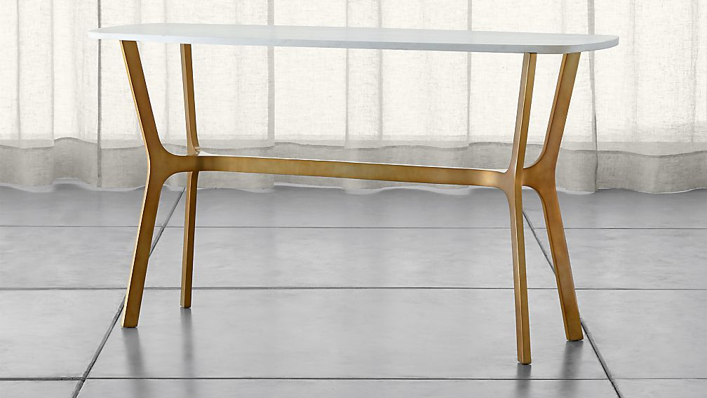 Elke Marble Console Table with Brass Base - Image 1 of 8